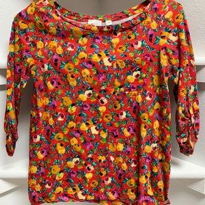 Bright, floral patterned, 3/4 sleeve shirt